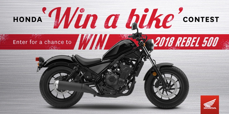 Honda Canada Win a Bike Contest: Win a 2018 Rebel 500 motorcycle