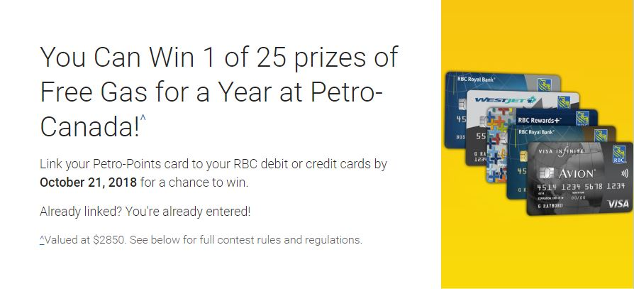 RBC and Petro Canada Contest: Win 1 of 25 prizes of Free Gas