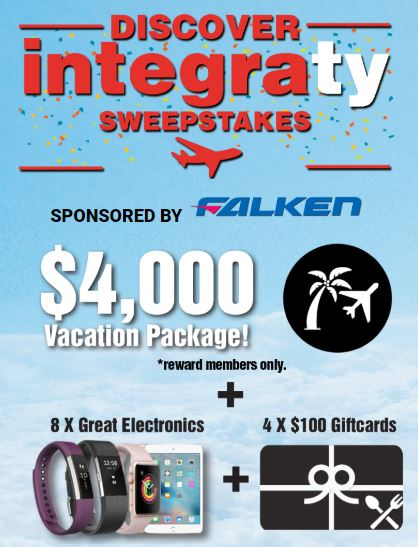 IntegraTire Discover Integraty Sweepstakes 2018: Win a