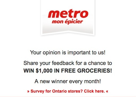 Metro Quebec Survey Contest: Win $1,000 in free groceries at